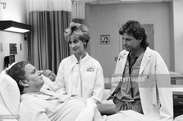"""When You Wish Upon a Scar"""" Episode 2 -- Pictured: Ray Girardin as Cliff Eberbach, Christina Pickles as Nurse Helen Rosenthal, Bruce Greenwood as Dr...."""