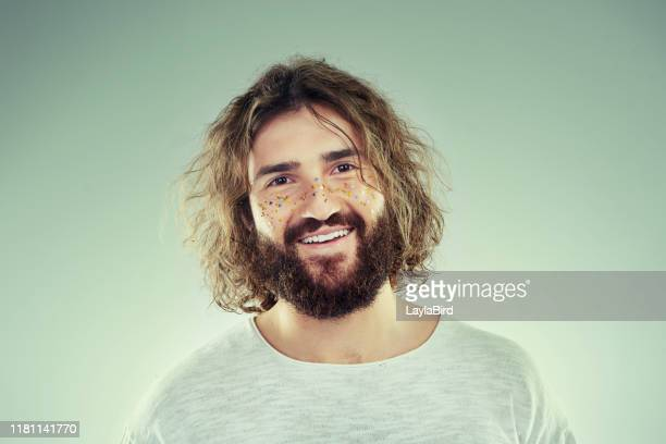 when your inner glow matches your outer glow - hairy man stock pictures, royalty-free photos & images