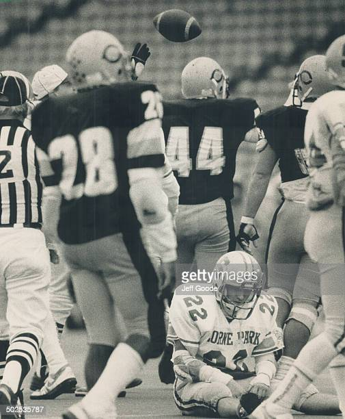 When you're down and out It was a bad day for dejected Colin Guthrie as the Lorne Park running back was stopped by Clarkson defence led by Trevor...