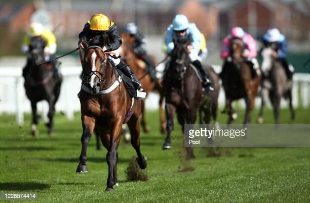 Whenthedealinsdone ridden by Jason Watson wins the British Stallion Studs EBF Maiden Stakes at Newbury Racecourse on September 18 2020 in Newbury...
