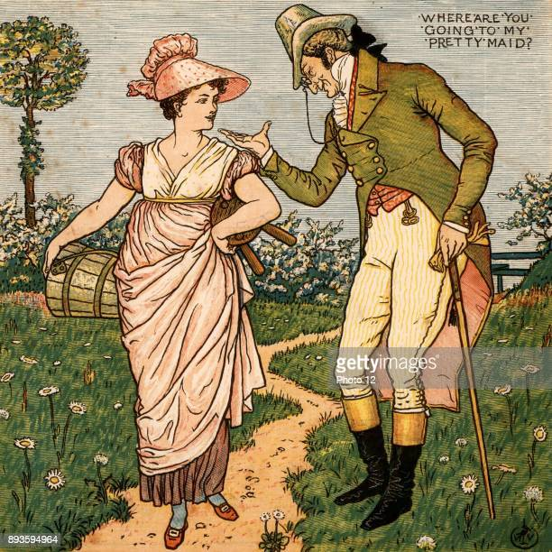 Where are you going to my pretty maid/I'm going a milking Sir she said Illustration by the English artist Walter Crane for a book of nursery rhymes...