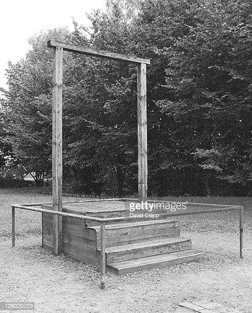 where camp commendant rudolph hoss was hanged, birkenau concentration camp, auschwitz, poland - birkenau stock pictures, royalty-free photos & images
