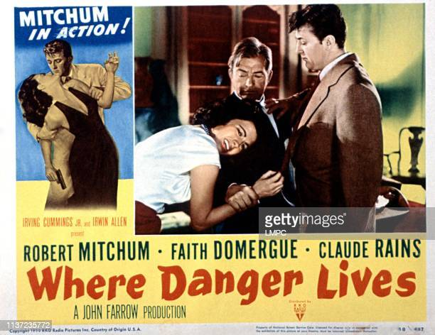 Where Danger Lives lobbycard Faith Domergue Claude Rains Robert Mitchum 1950