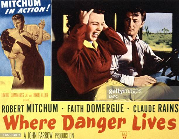 Where Danger Lives lobbycard Faith Domergue Robert Mitchum 1950