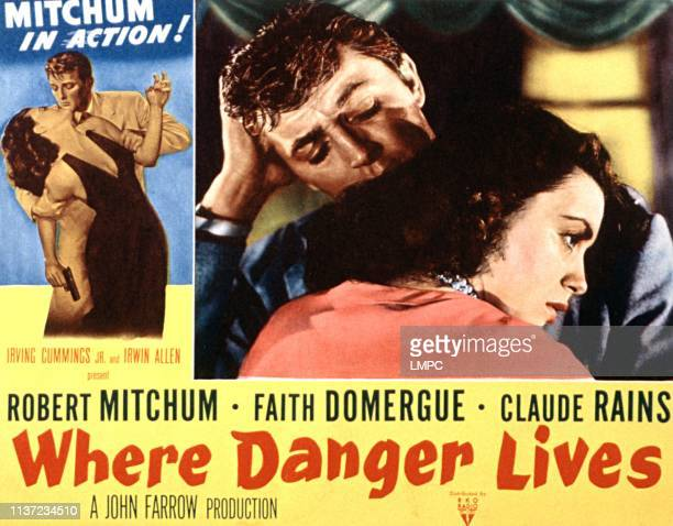 Where Danger Lives lobbycard Robert Mitchum Faith Domergue 1950