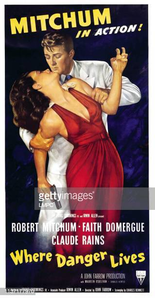 Where Danger Lives poster Faith Domergue Robert Mitchum 1950