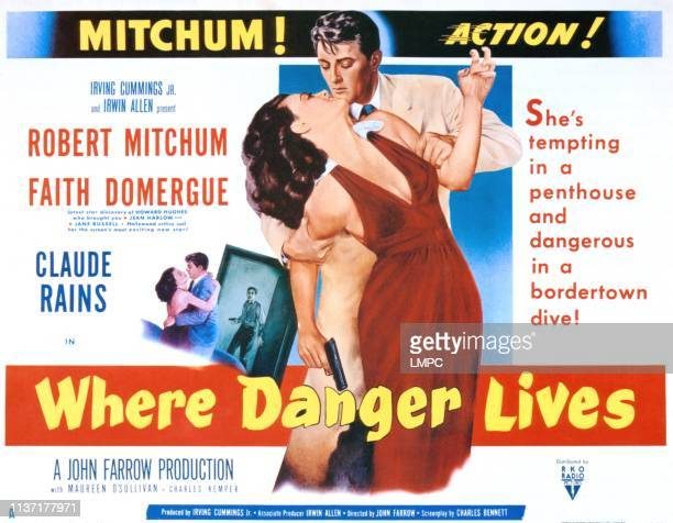 Where Danger Lives poster Faith Domergue Robert Mitchum 1950