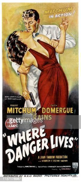 Faith Domergue Robert Mitchum on Australian daybill 1950