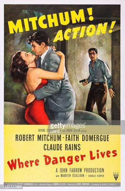 Where Danger Lives poster US poster art from left Faith Domergue Robert Mitchum 1950