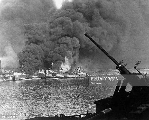 Where Nazi Planes Bagged 17 Allied Ships Washington DC Clouds of black smoke billow from some of the 17 Allied ships blasted by German bombing planes...