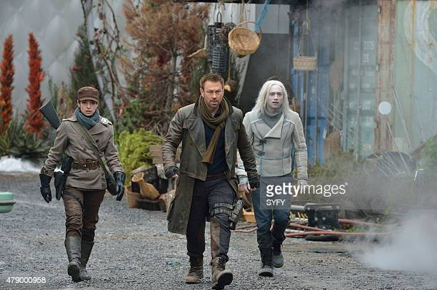 DEFIANCE Where the Apples Fell Episode 306 Pictured Anna Hopkins as Jessica Berlin Rainer Grant Bowler as Joshua Nolan Jesse Rath as Alak Tarr