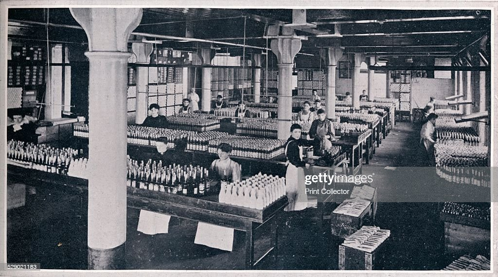 Where the famous Yorkshire Relish is made up, 1906. A picture showing the packing of Yorkshire Relish at the factory of Leeds based company Goodall, Backhouse & Co. From The Tatler Volume 21 [The Tatler, London, 1906]