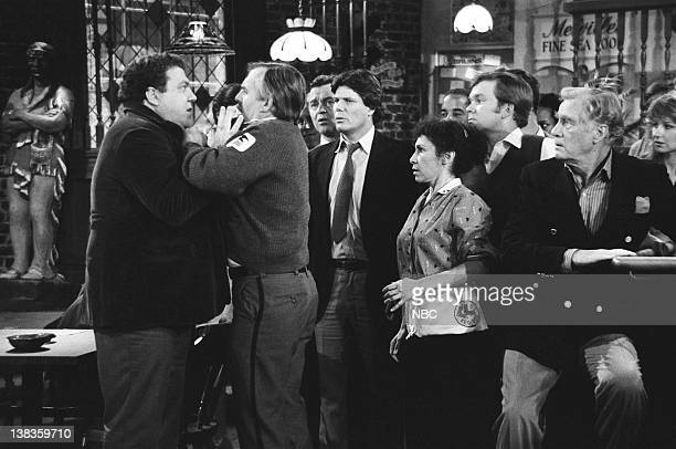 CHEERS 'Where There's a Will' Episode 12 Air Date Pictured George Wendt as Norm Peterson John Ratzenberger as Cliff Clavin Thomas Babson as Tom Rhea...