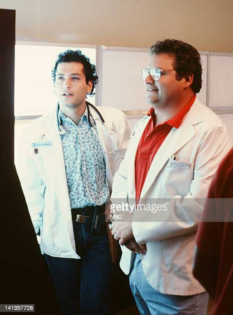 ST ELSEWHERE Where There's Hope There's Crosby Episode 1 Pictured Howie Mandel as Dr Wayne Fiscus Stephen Furst as Dr Elliot Axelrod Photo by Frank...