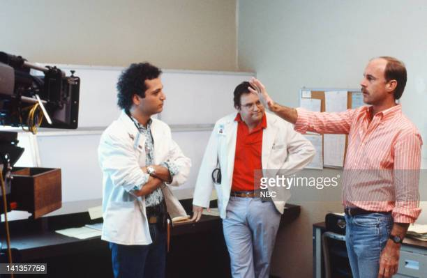 ST ELSEWHERE Where There's Hope There's Crosby Episode 1 Pictured Howie Mandel as Dr Wayne Fiscus Stephen Furst as Dr Elliot Axelrod director Mark...