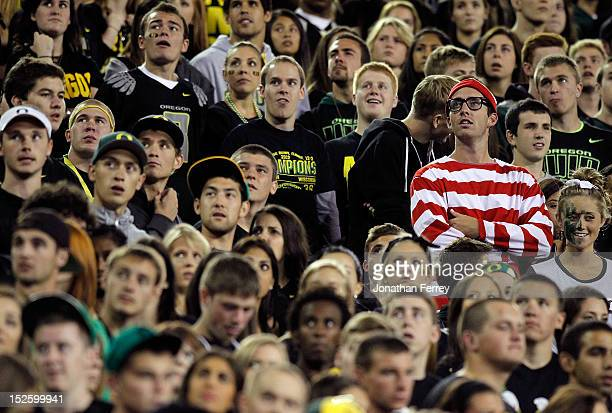 A Where's Waldo fan watches the game between the Oregon Ducks and the Arizona Wildcats on September 22 2012 at the Autzen Stadium in Eugene Oregon