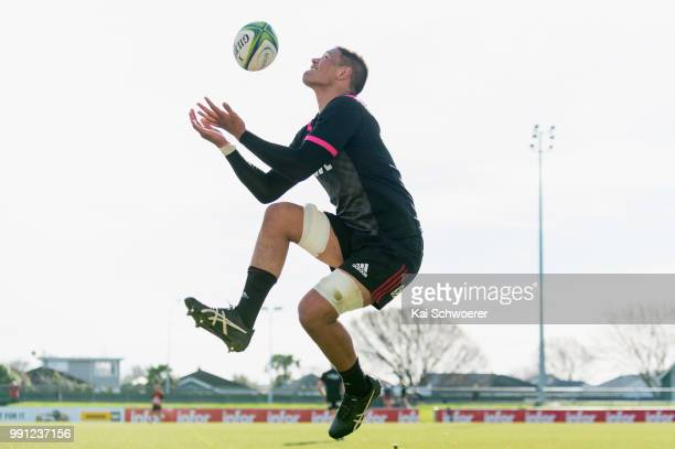 Whetu Douglas catches the ball during a Crusaders Super Rugby training session at Rugby Park on July 4 2018 in Christchurch New Zealand