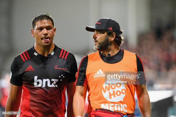 Whetu Douglas of the Crusaders receives medical help during the round four Super Rugby match between the Crusaders and the Blues at AMI Stadium on...