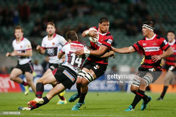 Whetukamokamo Douglas of Canterbury on the charge against Matt Duffie of North Harbour during the round five Mitre 10 Cup match between North Harbour...