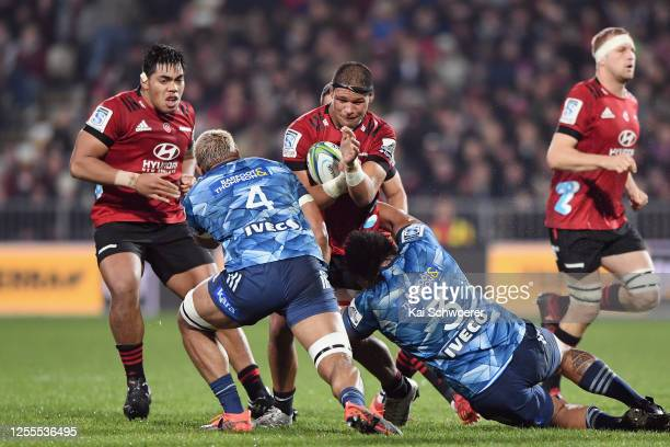 Whetukamokamo Douglas of the Crusaders charges forward during the round 5 Super Rugby Aotearoa match between the Crusaders and the Blues at...