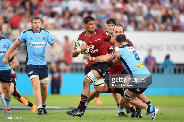 Whetukamokamo Douglas of the Crusaders looks to pass the ball during the Round 1 Super Rugby match between the Crusaders and the Waratahs at...