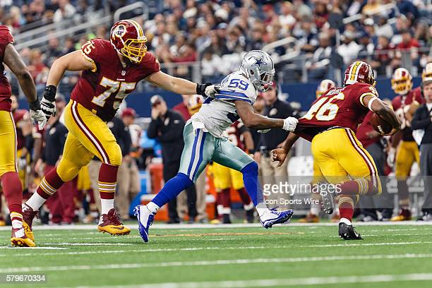 While Dallas Cowboys Linebacker Anthony Hitchens [12329] is chasing Washington Redskins Running Back Alfred Morris [18023] holding goes uncalled on...