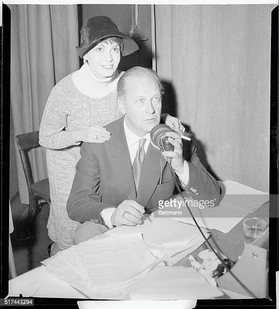 While his wife actress Eva Bartok lends encouragement German actor Kurt Jurgens records dialogue in French for the film London Calling the North Pole...