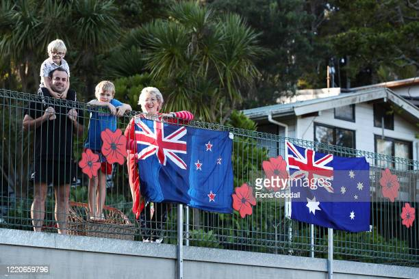 While in lockdown at home in Titirangi Stuart McFarlane and his sons Presley 5 and Cooper 9 made their own Anzac memorial with Nana Del...