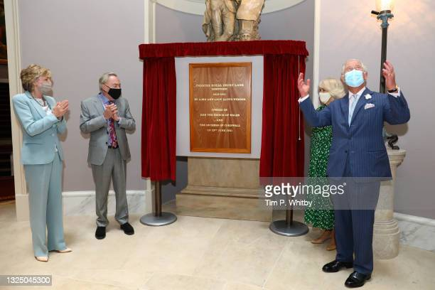 While Lady Madeleine Lloyd Webber and Lord Andrew Lloyd Webber look on, Prince Charles, Prince of Wales next to Camilla, Duchess of Cornwall unveils...
