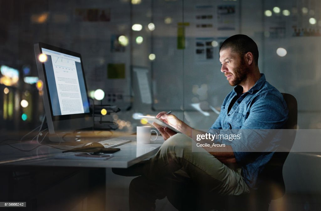 While others are sleeping, he's succeeding : Stock Photo