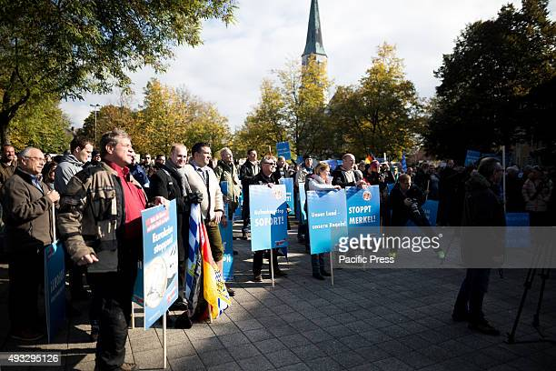 FREILASSING BAVARIA GERMANY While speeches are held protesters repetitively scream Merkel muss weg Lügenpresse They are against refugees and wants...