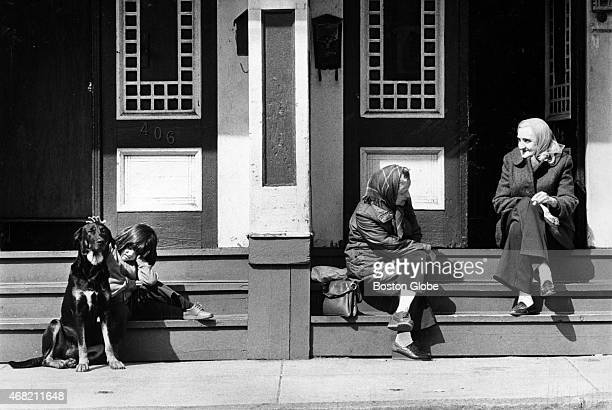 While Terry Kinsella pats a dog named Ralph Helen and Florence Tyrell talk on East 3rd Street in South Boston on March 28 1980