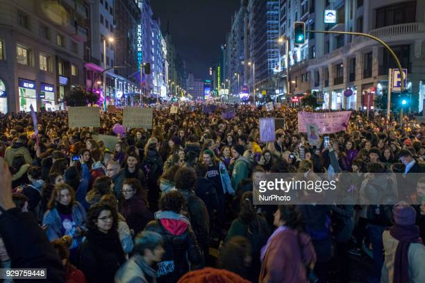 While the demonstration had already reached the Plaza de España where its journey ended the end was still on the Gran Vía on March 8 2018 in Madrid...