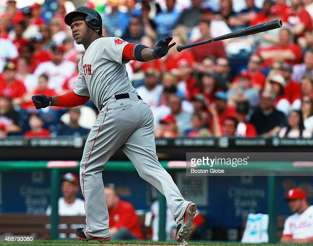 While watching ninth inning grand slam the Red Sox Hanley Ramirez tosses his bat away as he heads down the firstbase line The Red Sox slugged five...
