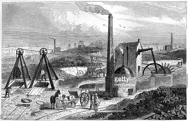 Whimsey or engine drawing coal in the Staffordshire collieries 1886 Machinery for extracting coal Illustration from Cyclopaedia of Useful Arts...
