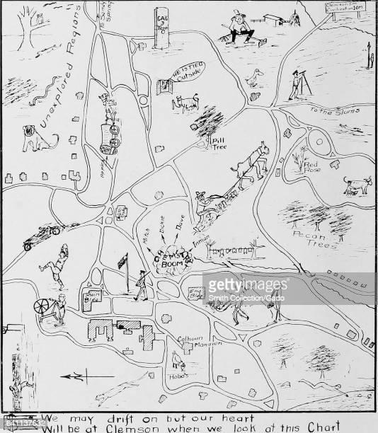 Whimsical handdrawn map of the campus of Clemson University identifying nostalgic landmarks South Carolina 1916