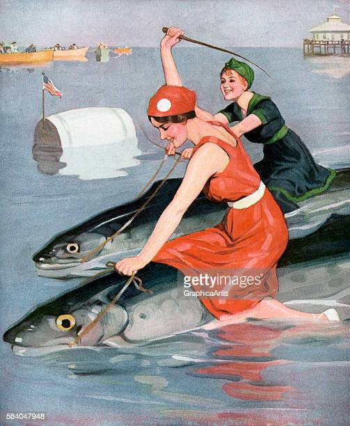 Whimsical vintage print of two women in swimsuits racing Atlantic mackerels at the beach 1920s Screen print