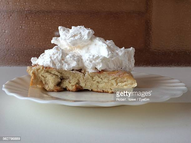 Whipped Cream On Bread In Plate