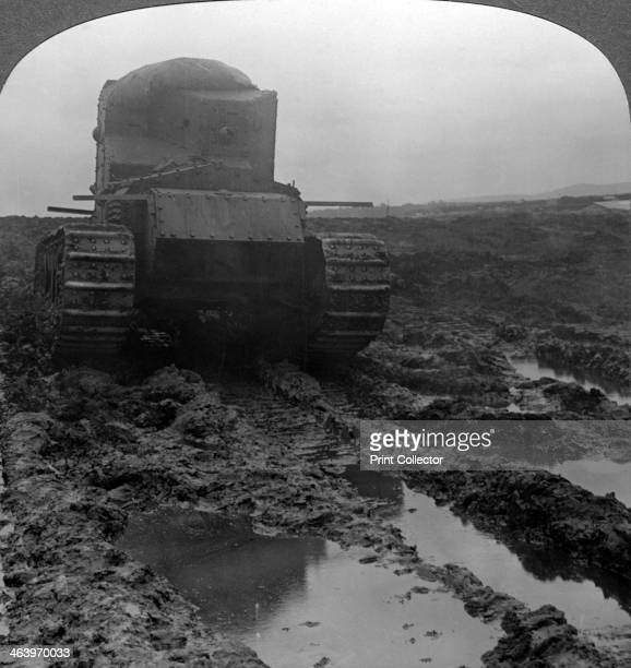 Whippet tank on a muddy battlefield Morcourt France World War I 1918 Nicknamed the 'Whippet' the British Medium Mark A tank was introduced in 1917 It...