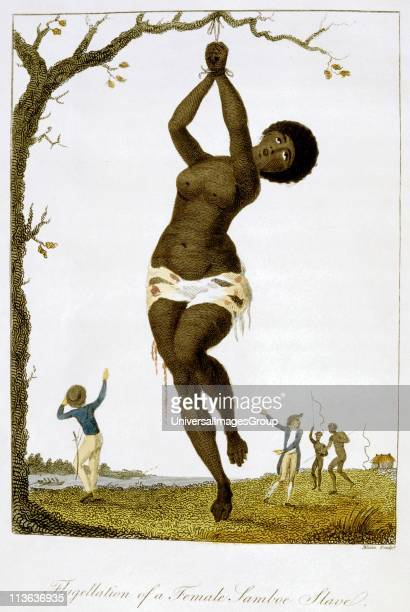 Whipping of a female black slave From Stedman Journal of Five Years Expedition against the Rebelling Blacks of Surinam 177277 London 1793...