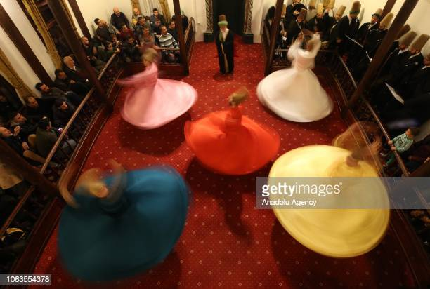 Whirling dervishes perform during a religious ceremony within the celebrations for Mawlid alNabi the birth anniversary of Muslims' beloved Prophet...