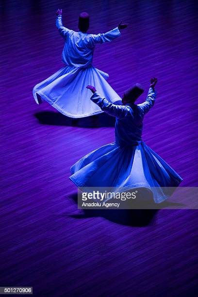 Whirling dervishes perform during the 7th day of the 'Sebi Arus' ceremony at Mevlana Cultural Center to mark the 742nd anniversary of the death of...