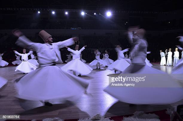 Whirling dervishes perform during the 'Sebi Arus' ceremony at Konya Metropolitan Municipality Spor and Congress Center to mark the 742nd anniversary...