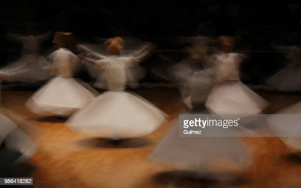 whirling dervishes (semazenler) - sufism stock photos and pictures