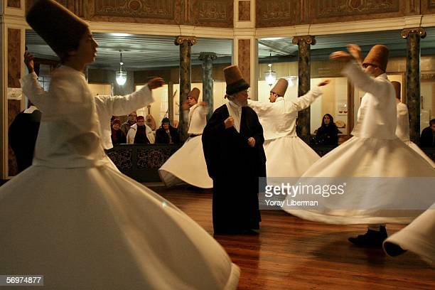 Whirling dervish's turn during a dema in the sufi house of galata on December 11 2004 in Istanbul Turkey The Sema and the Whirling Dervishes started...