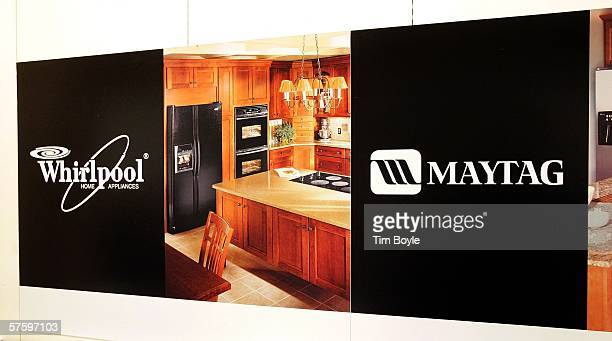 Whirlpool and Maytag signage is displayed inside a Sears store May 12 2006 in Niles Illinois Whirlpool reportedly may be closing three Maytag...