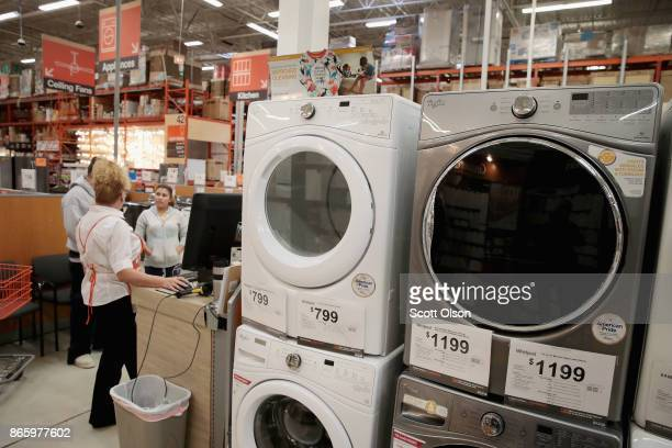 Whirlpool appliances are offered for sale alongside other brands at a Home Depot store on October 24 2017 in Chicago Illinois Sears Holdings...