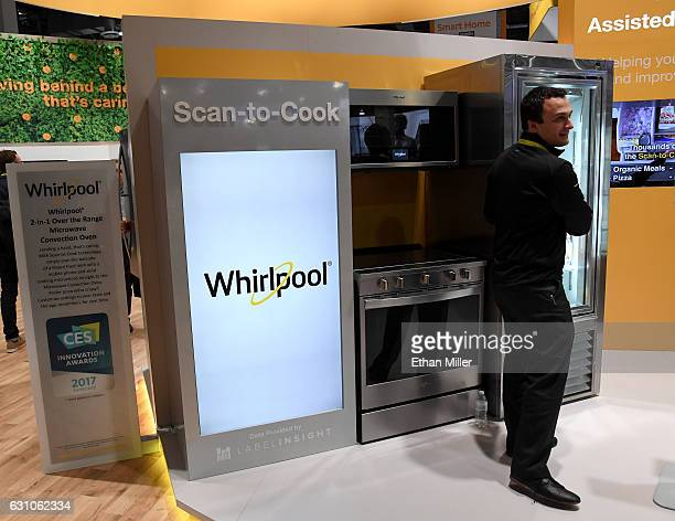 Whirlpool's ScantoCook technology is demonstrated at CES 2017 at the Sands Expo and Convention Center on January 5 2017 in Las Vegas Nevada A user...
