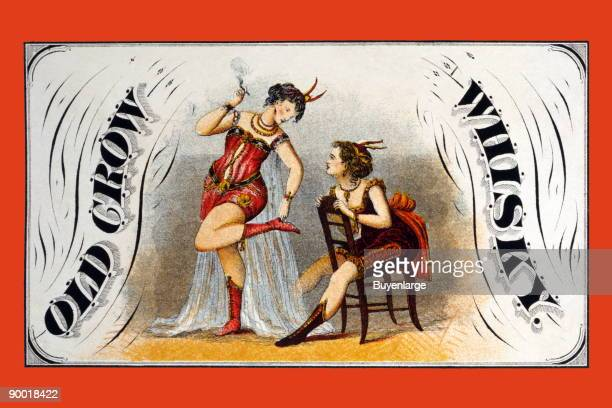 Whiskey advertising label showing two women burlesque performers