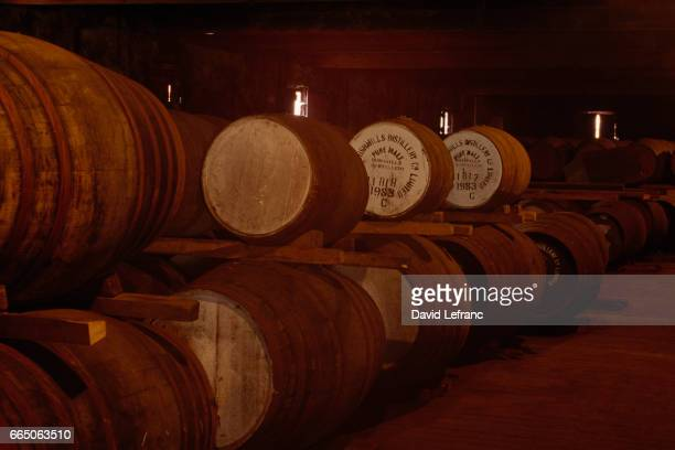 Whiskey ageing in barrels Old Bushmills Distillery the world's oldest licensed distillery in County Antrim uses spring water from Saint Columb's Rill...
